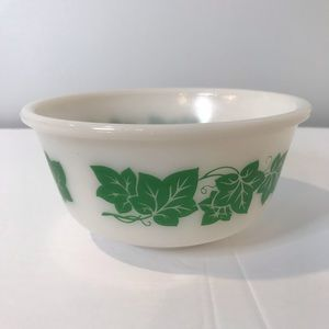 Vintage Anchor Hocking Ivy Milk Glass Mixing Bowl